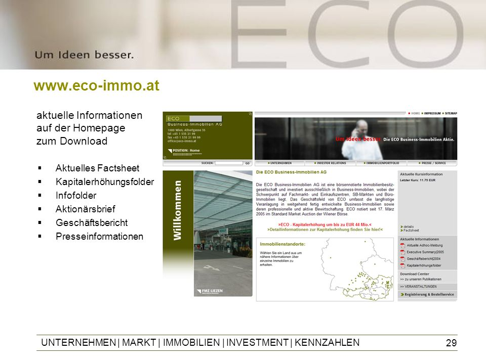 www.eco-immo.at aktuelle Informationen auf der Homepage zum Download