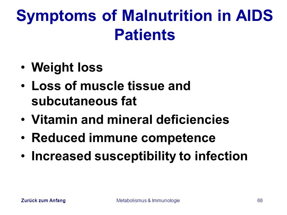 Symptoms of Malnutrition in AIDS Patients