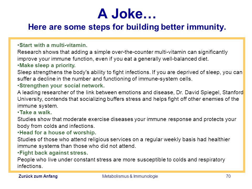 A Joke… Here are some steps for building better immunity.