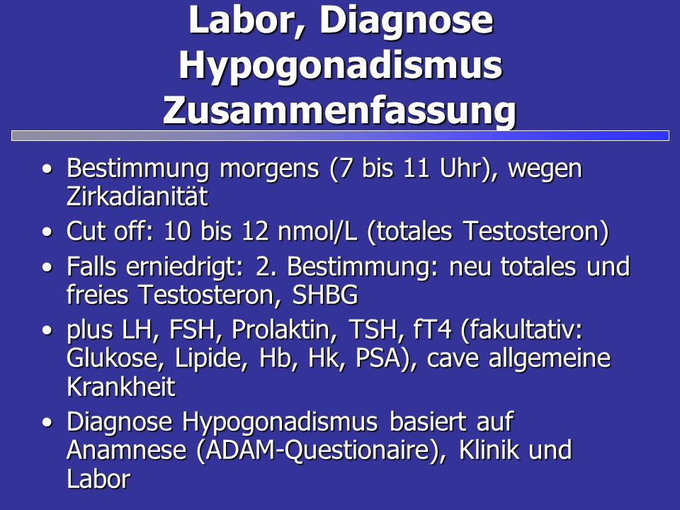 Labor, Diagnose Hypogonadismus Zusammenfassung