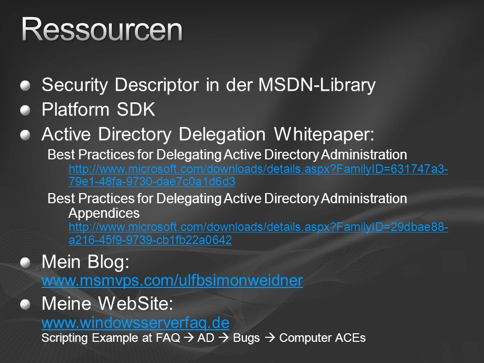 Ressourcen Security Descriptor in der MSDN-Library Platform SDK