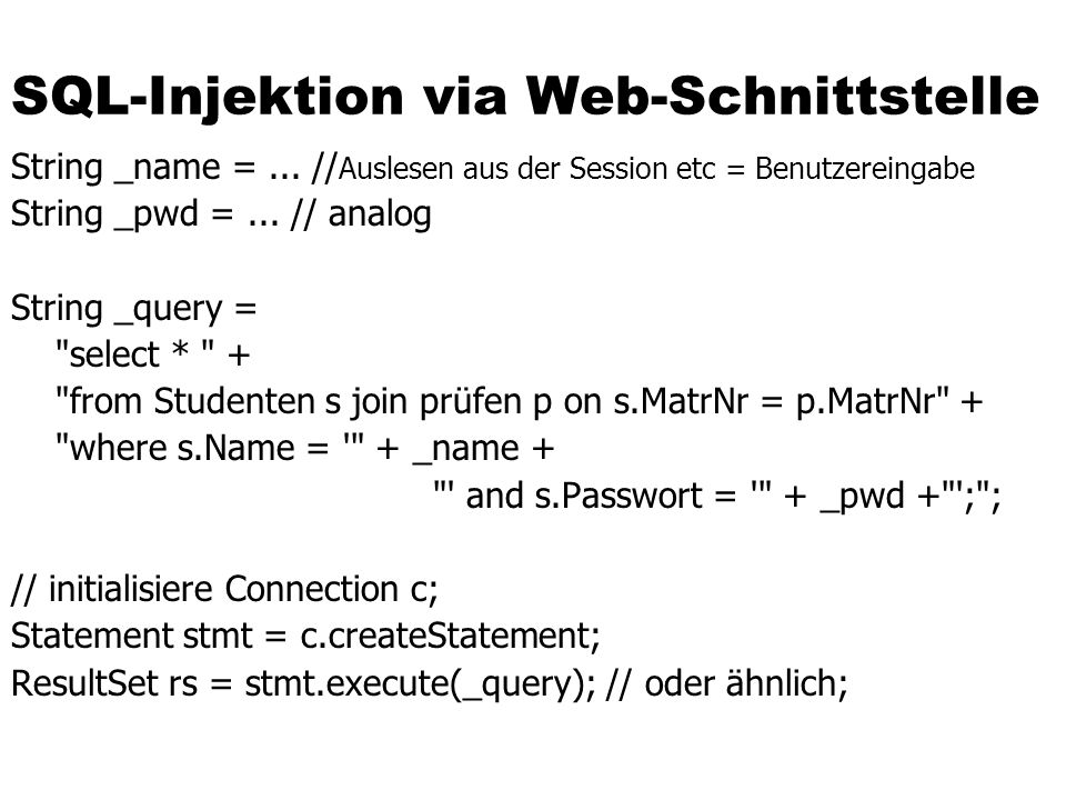SQL-Injektion via Web-Schnittstelle