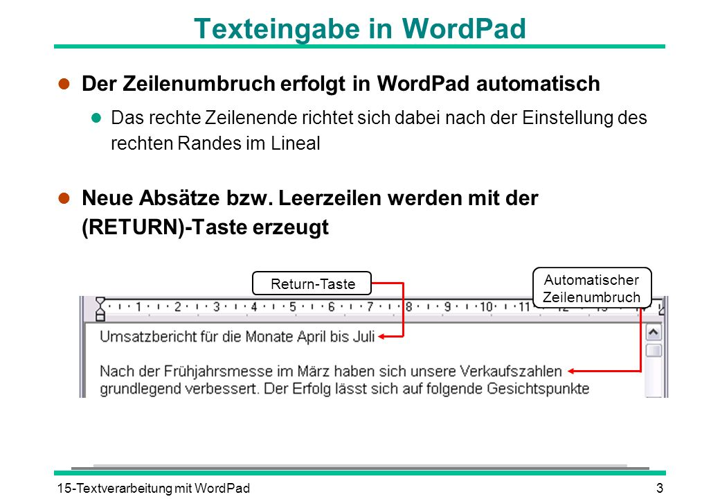 Texteingabe in WordPad