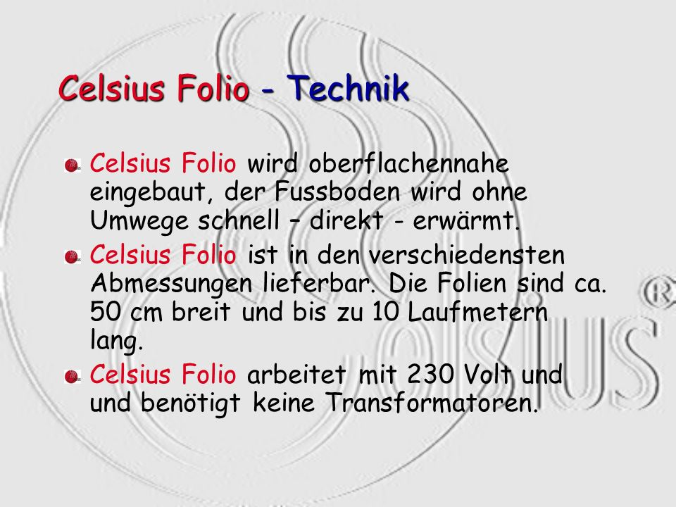 Celsius Folio - Technik