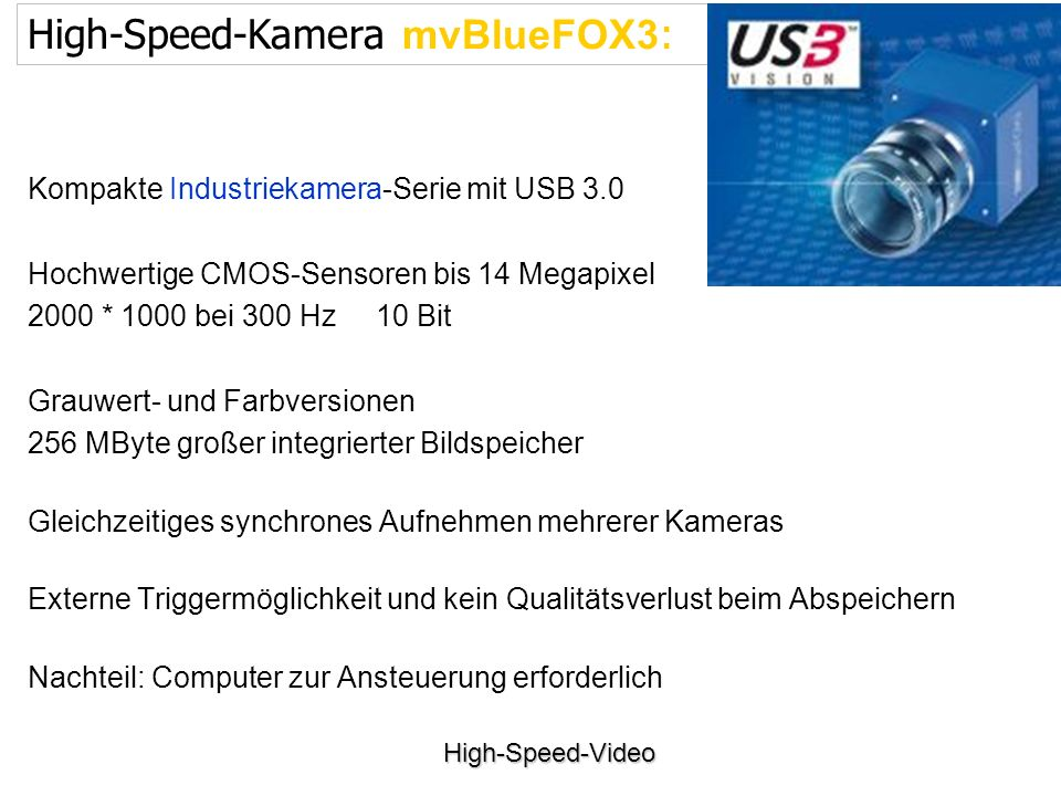 High-Speed-Kamera mvBlueFOX3: