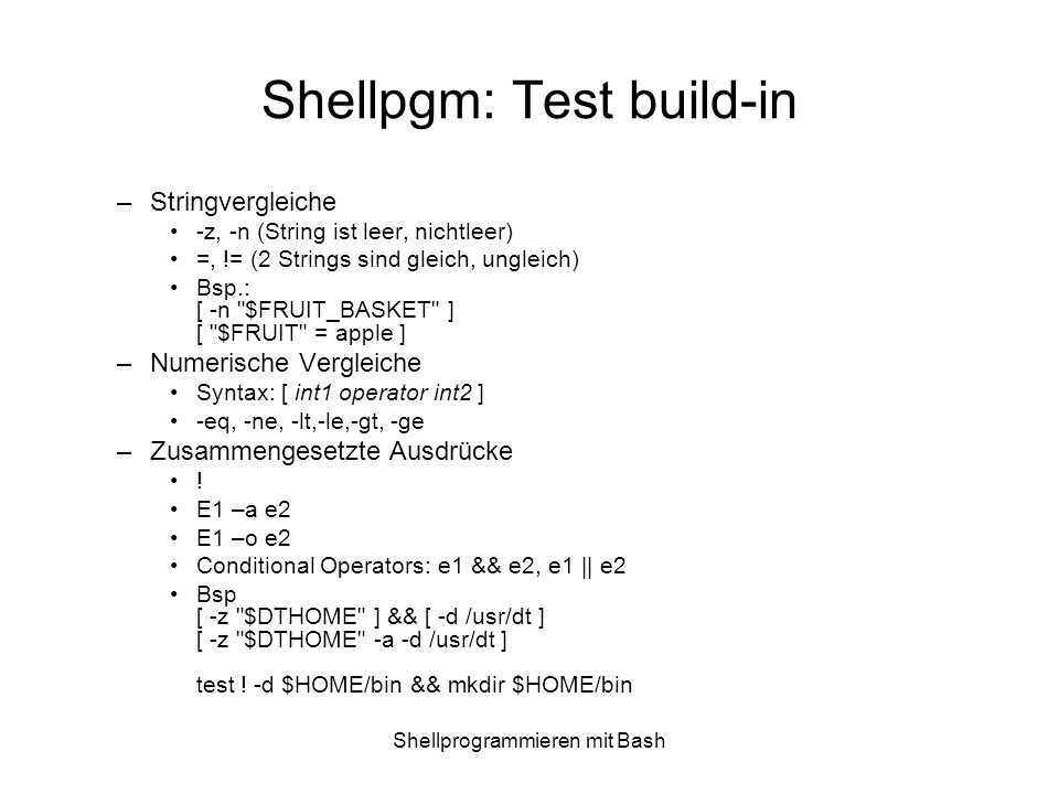 Shellpgm: Test build-in