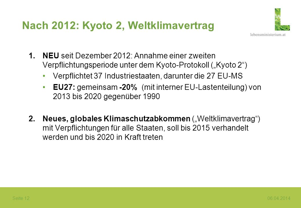 Nach 2012: Kyoto 2, Weltklimavertrag