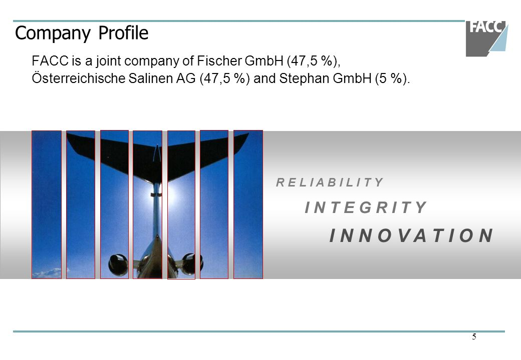 Company Profile FACC is a joint company of Fischer GmbH (47,5 %), Österreichische Salinen AG (47,5 %) and Stephan GmbH (5 %).