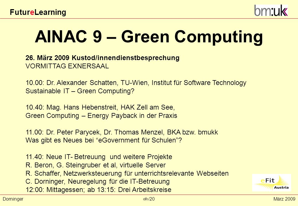 AINAC 9 – Green Computing