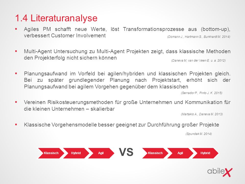 1.4 Literaturanalyse Agiles PM schafft neue Werte, löst Transformationsprozesse aus (bottom-up), verbessert Customer Involvement.