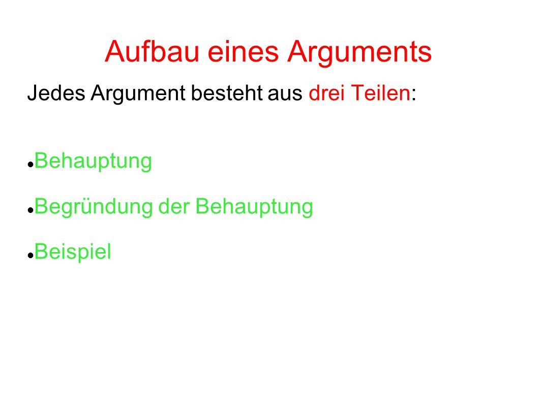 2 aufbau eines arguments jedes argument besteht aus drei teilen behauptung begrndung der behauptung beispiel - Behauptung Begrundung Beispiel
