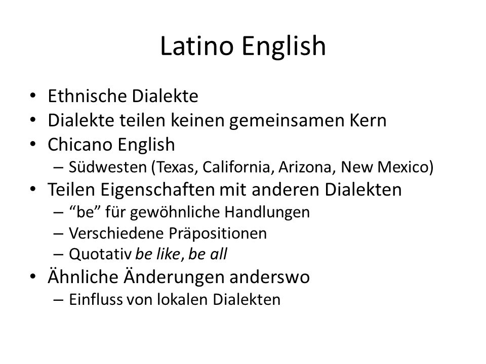 Latino English Ethnische Dialekte