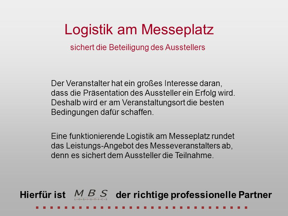 Logistik am Messeplatz