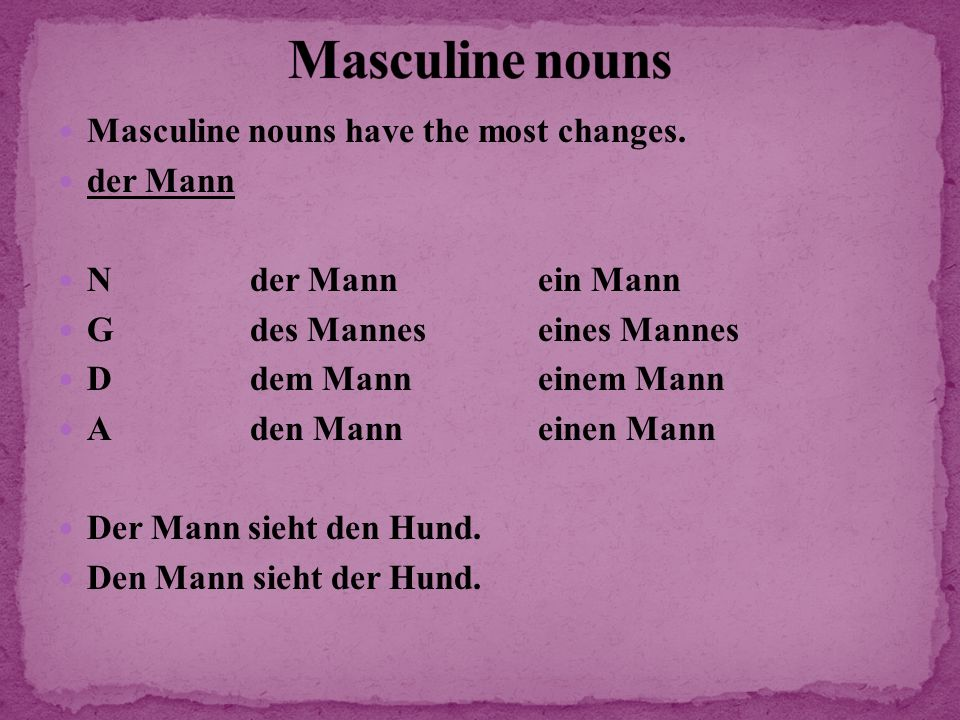 Masculine nouns Masculine nouns have the most changes. der Mann