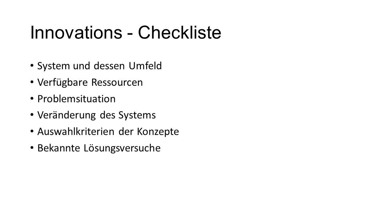 Innovations - Checkliste