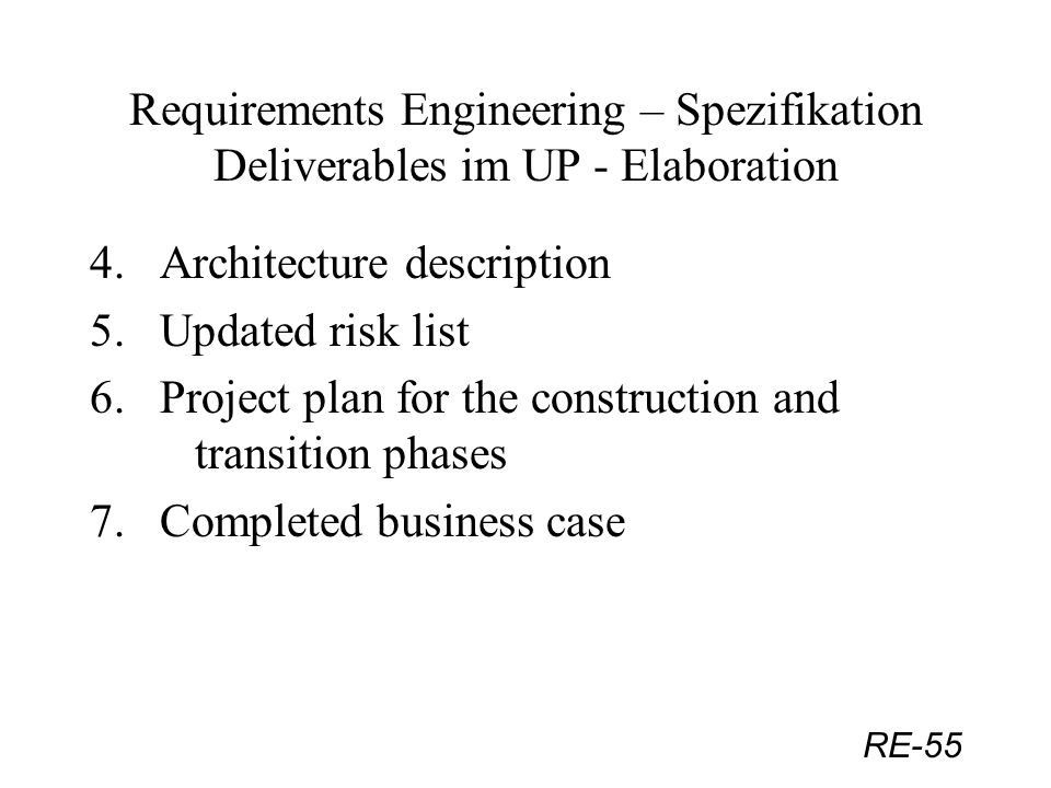 Requirements Engineering – Spezifikation Deliverables im UP - Elaboration