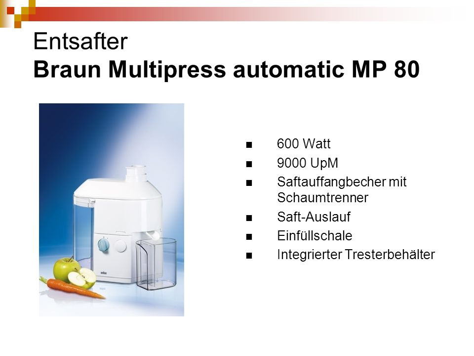 Entsafter Braun Multipress automatic MP 80