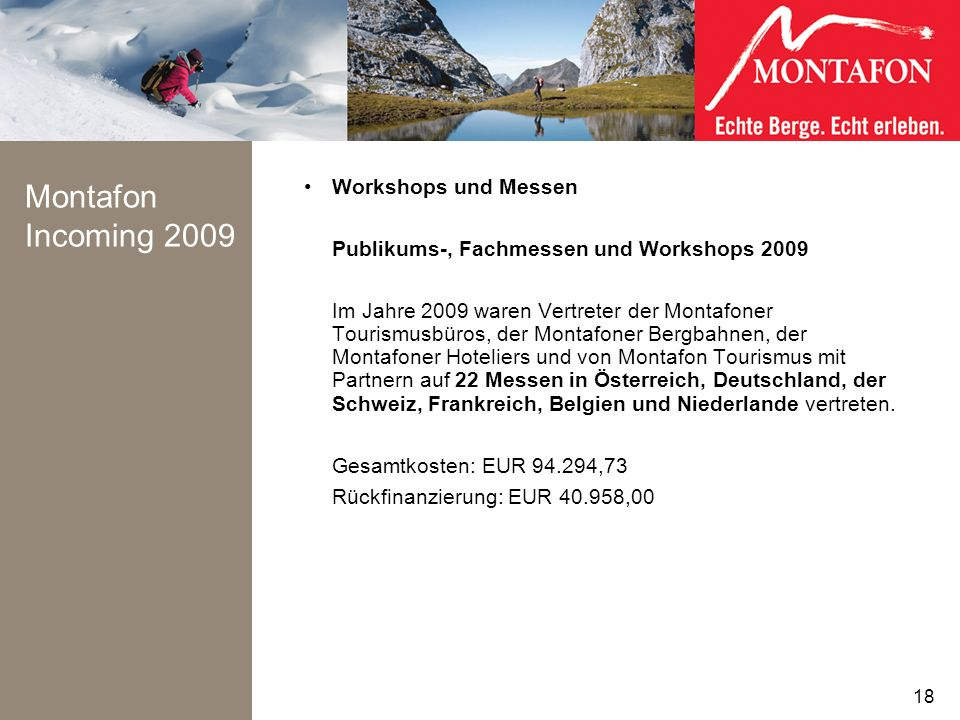Montafon Incoming 2009 Workshops und Messen