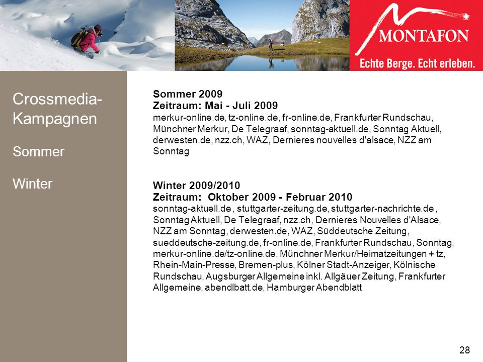 Crossmedia-Kampagnen Sommer Winter