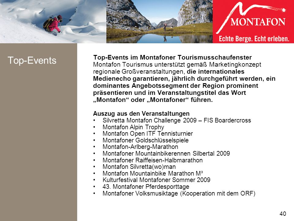Top-Events Top-Events im Montafoner Tourismusschaufenster