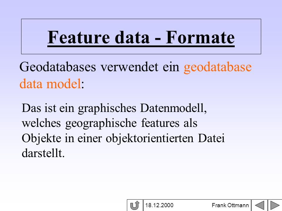 Feature data - Formate Geodatabases verwendet ein geodatabase data model: