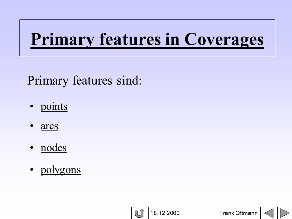Primary features in Coverages