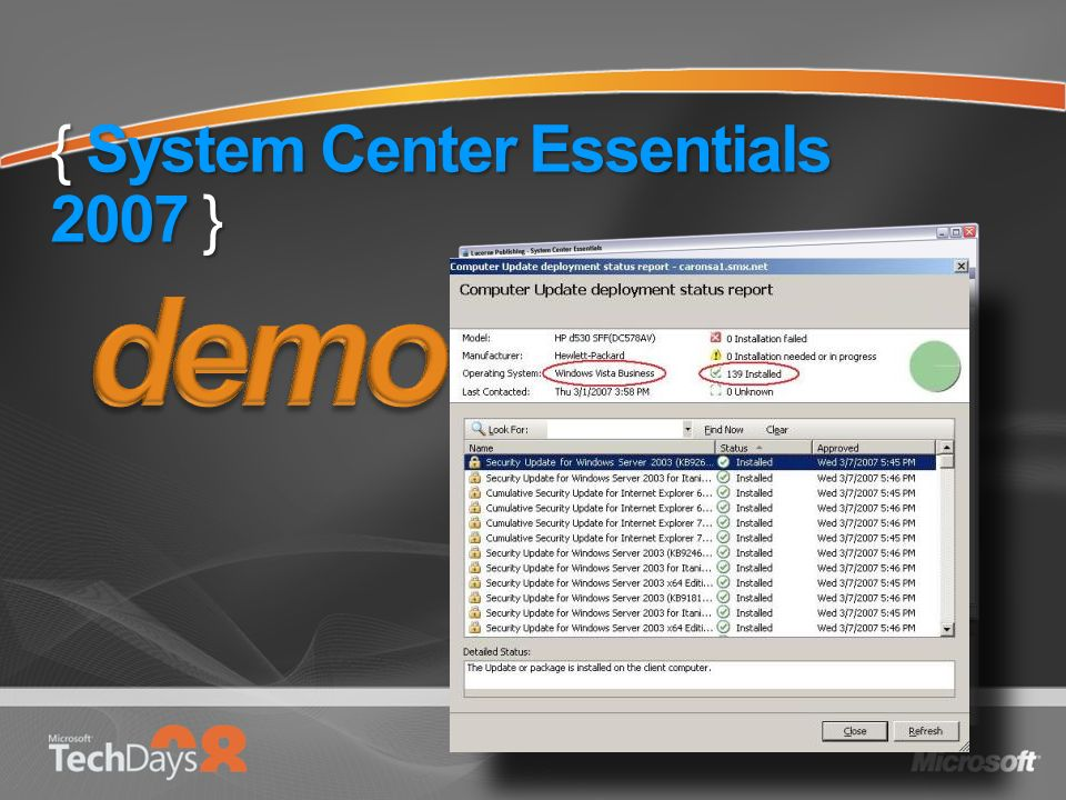 { System Center Essentials 2007 }