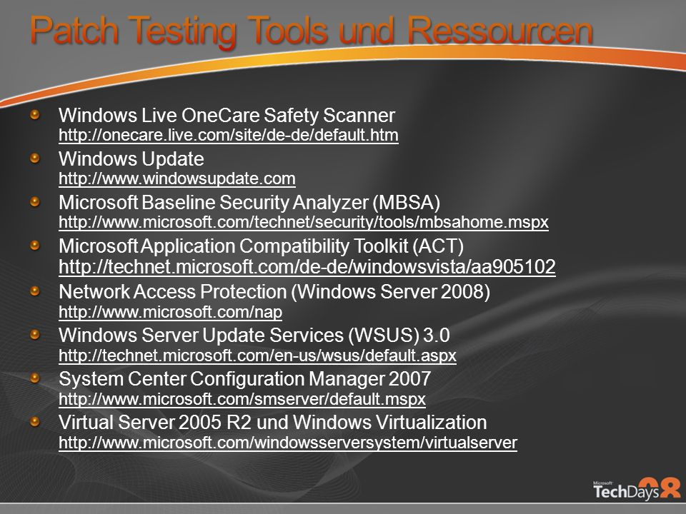 Patch Testing Tools und Ressourcen
