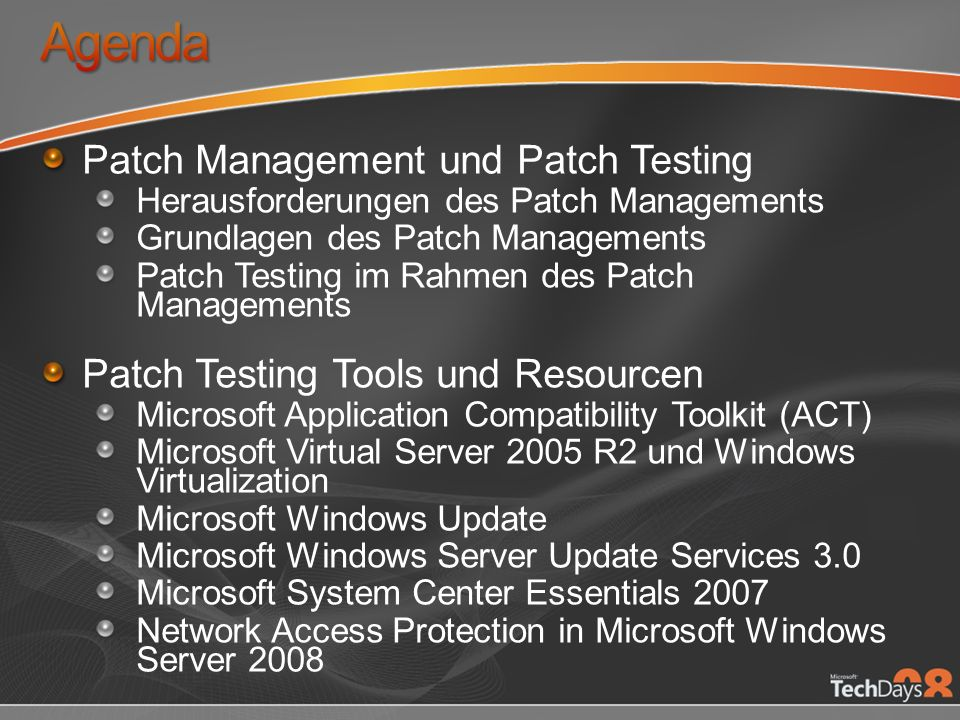 Agenda Patch Management und Patch Testing