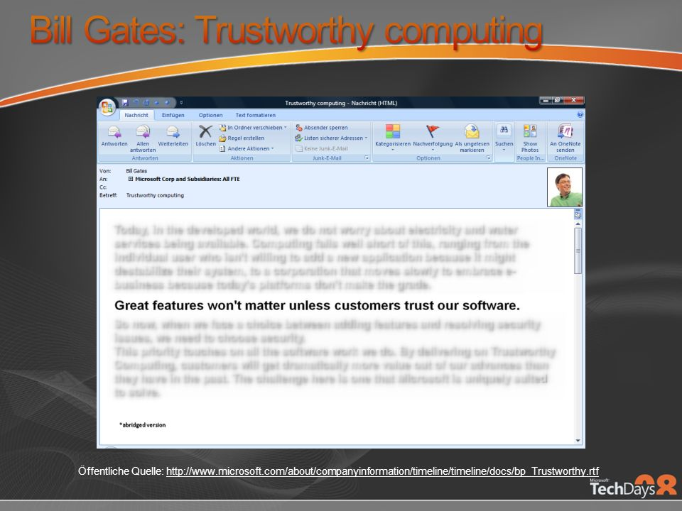 Bill Gates: Trustworthy computing