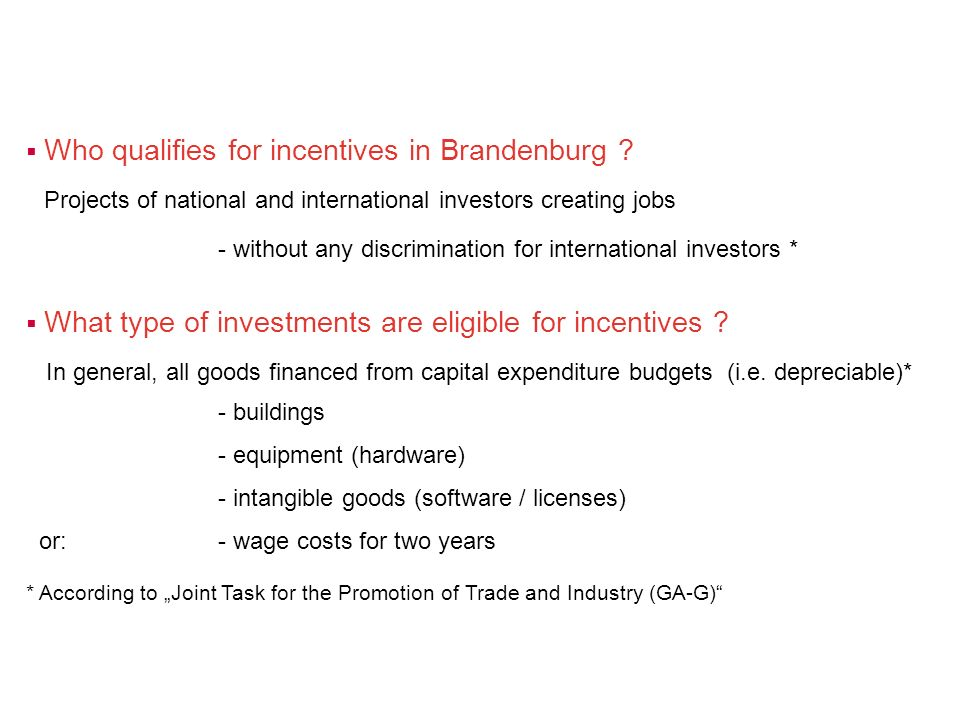 Who qualifies for incentives in Brandenburg