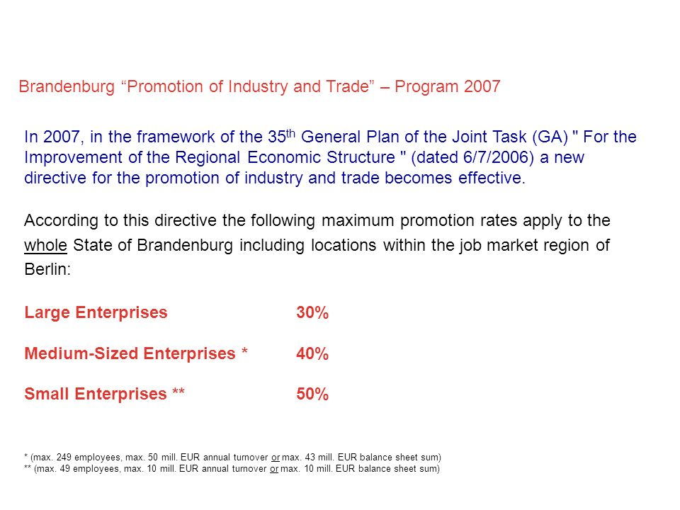Brandenburg Promotion of Industry and Trade – Program 2007