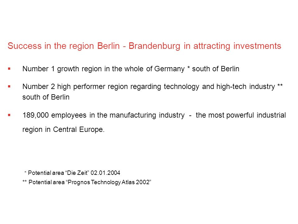 Success in the region Berlin - Brandenburg in attracting investments