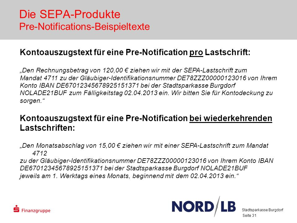 Die SEPA-Produkte Pre-Notifications-Beispieltexte
