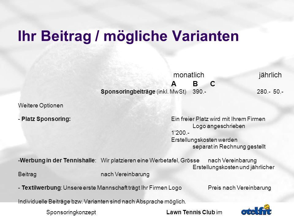 Sponsoringkonzept Lawn Tennis Club im - ppt herunterladen