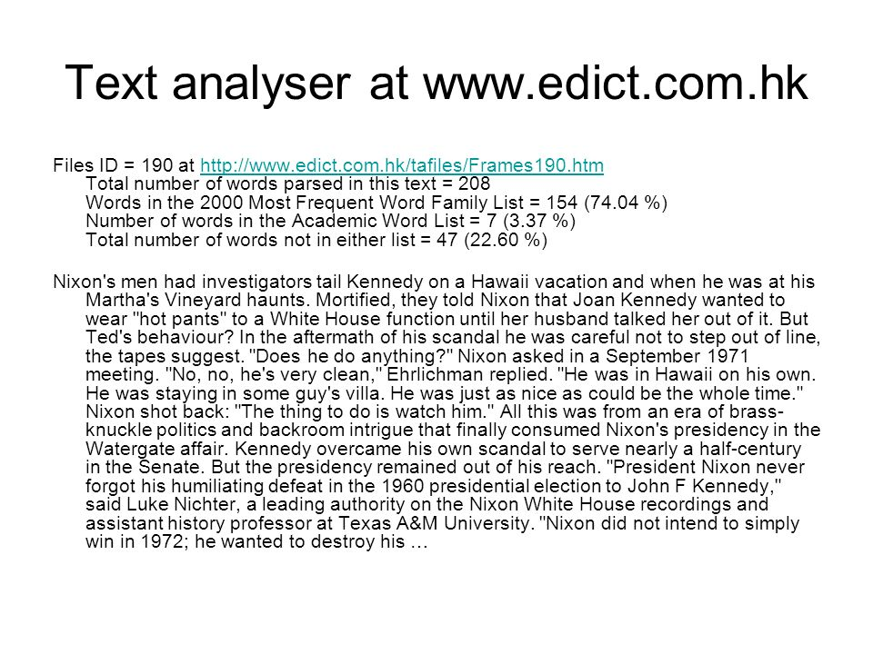 Text analyser at www.edict.com.hk