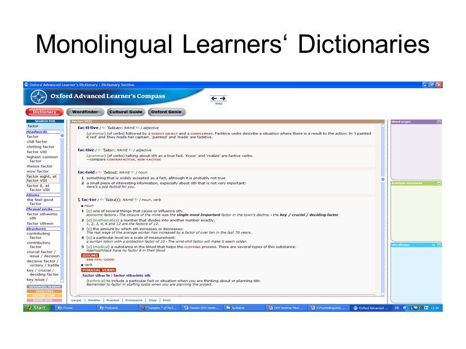 Monolingual Learners' Dictionaries