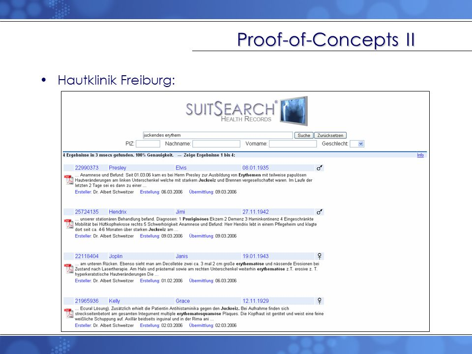Proof-of-Concepts II Hautklinik Freiburg:
