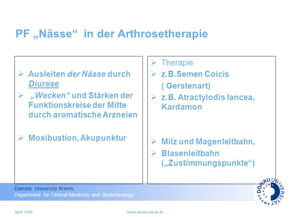 "PF ""Nässe in der Arthrosetherapie"