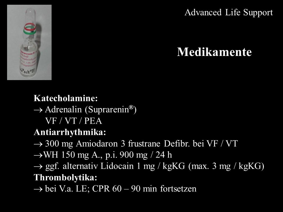 Medikamente Advanced Life Support Katecholamine: