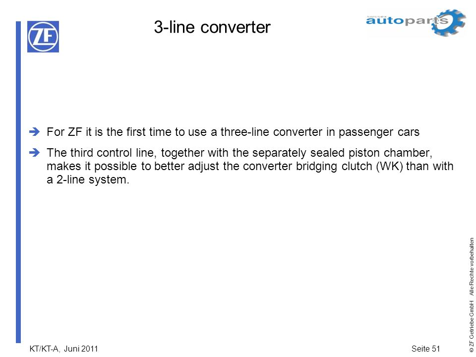 3-line converter For ZF it is the first time to use a three-line converter in passenger cars.