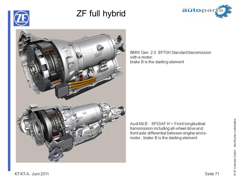 ZF full hybrid BMW Gen. 2.0: 8P70H Standard transmission with e-motor;