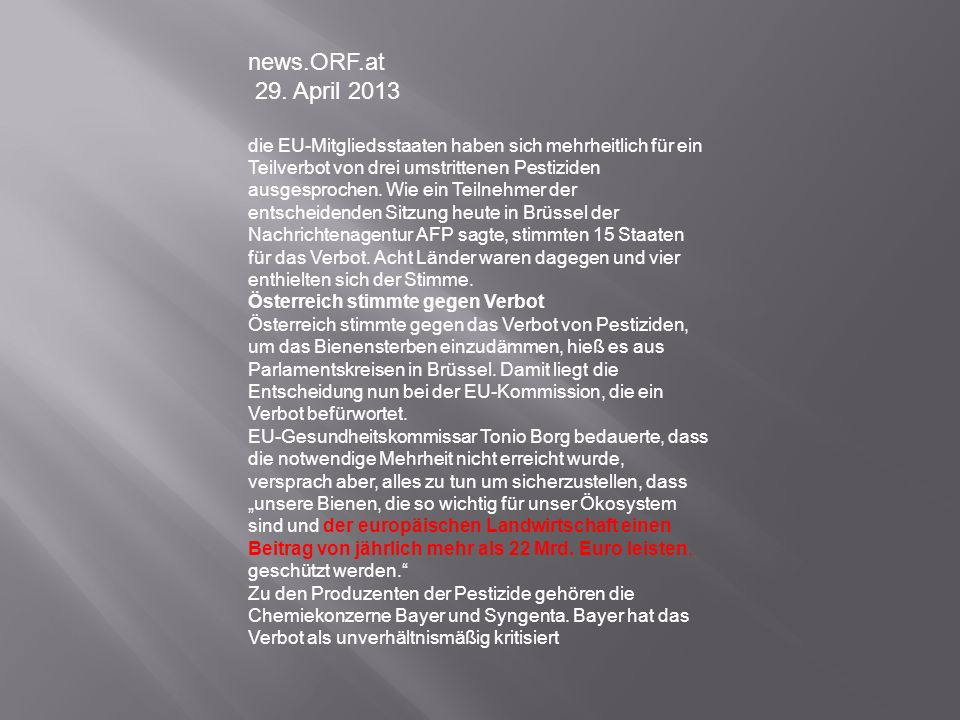 news.ORF.at 29. April 2013.