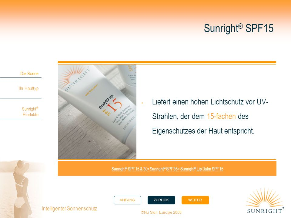 Sunright® SPF15 & 30• Sunright® SPF35 • Sunright® Lip Balm SPF15