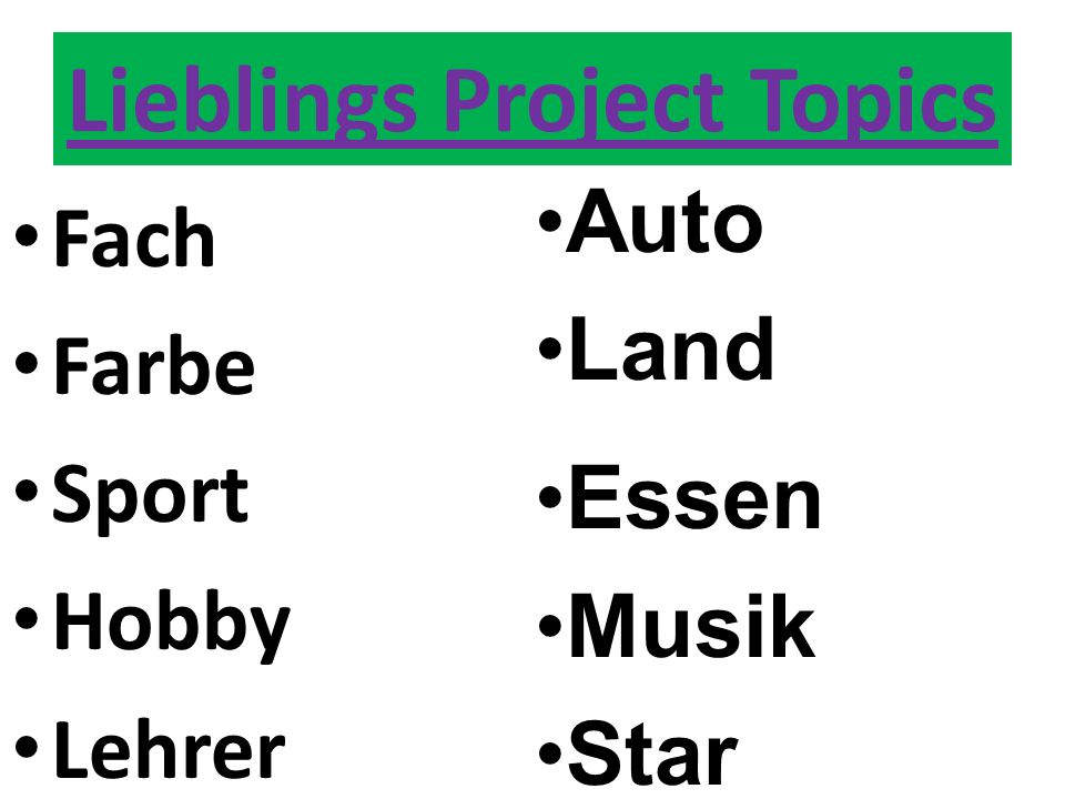 Lieblings Project Topics