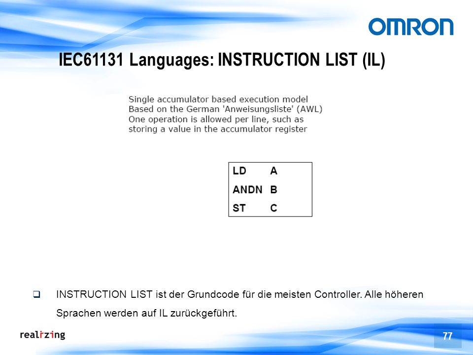 IEC61131 Languages: INSTRUCTION LIST (IL)