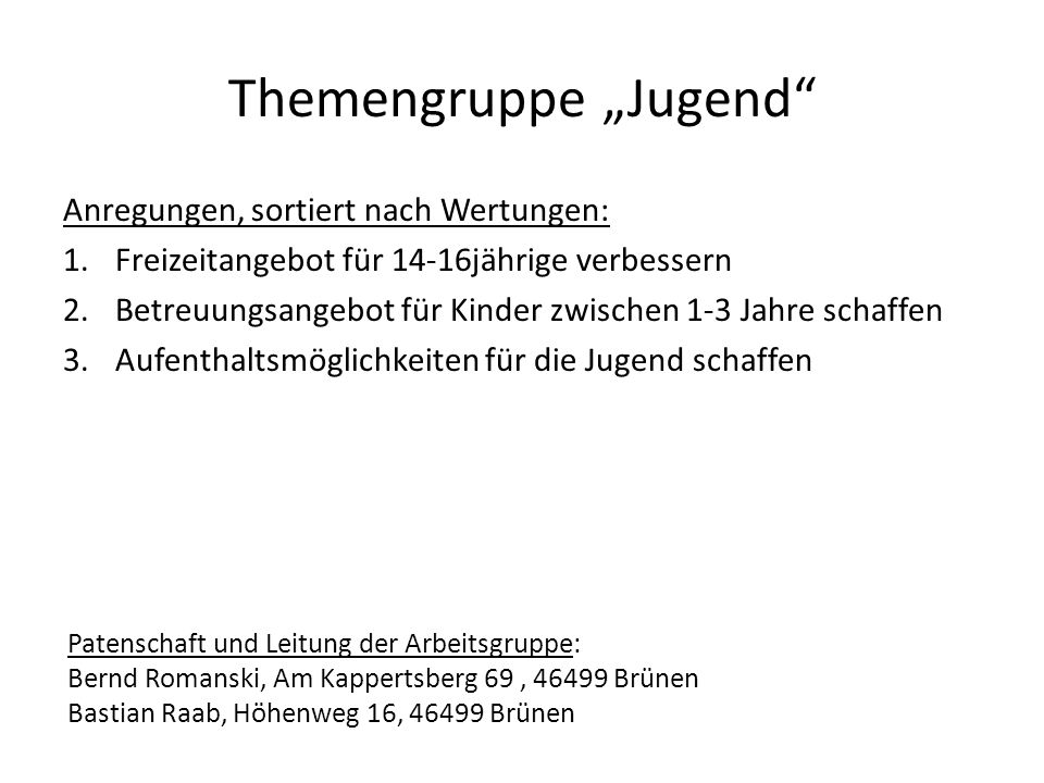 "Themengruppe ""Jugend"