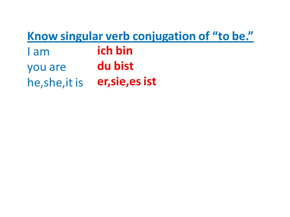 Know singular verb conjugation of to be.