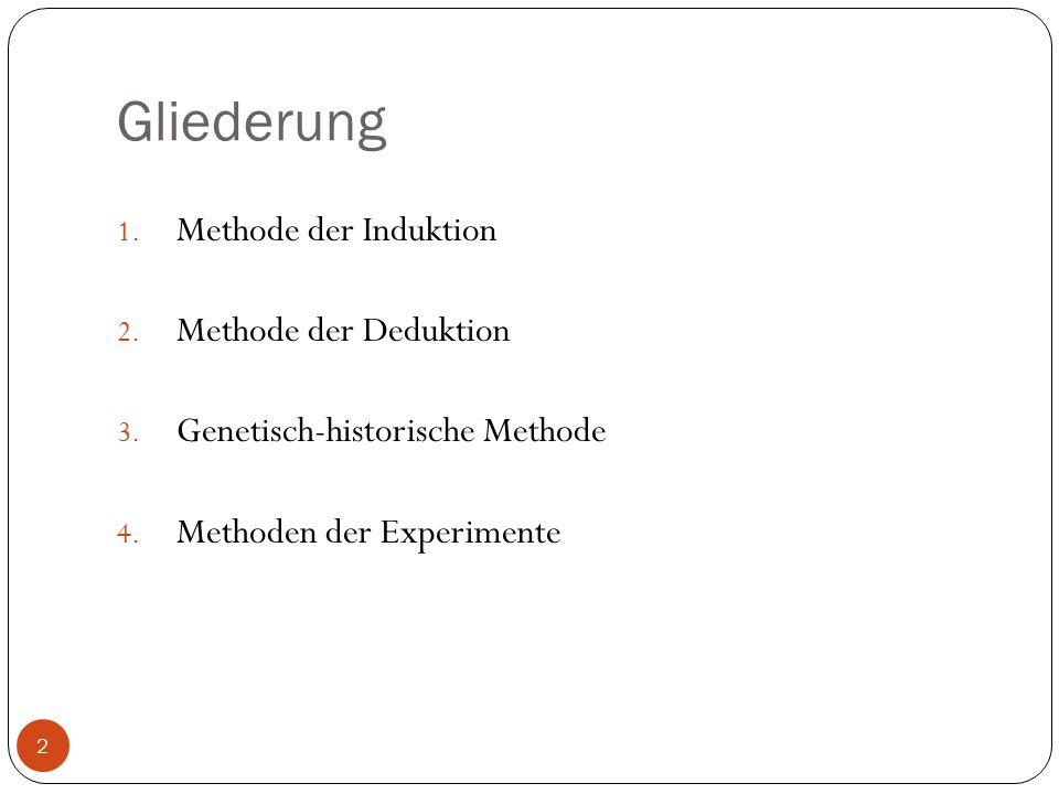 Gliederung Methode der Induktion Methode der Deduktion