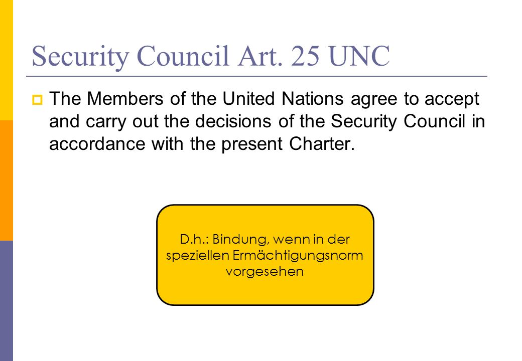 Security Council Art. 25 UNC